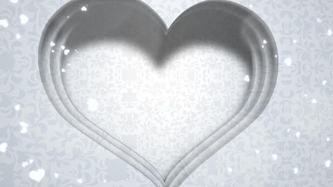 Closeup white hearts of love, wedding background Videos animados