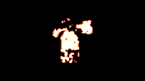 Symbol fire extinguisher burns out of transparency, then burns again. Alpha channel Premultiplied - Animation