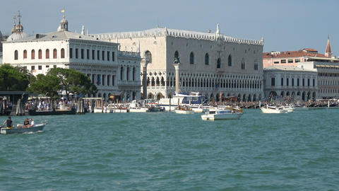 Panoramic view of Venice coast with historical buildings and Laguna Veneta Live Action