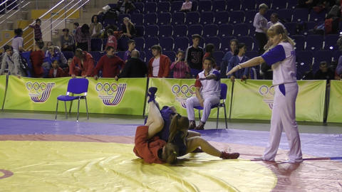 Orenburg, Russia - 13 March 2016: girls competitions Sambo Live Action