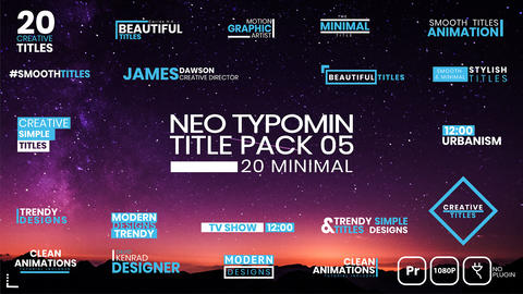 20 Typomin Title Pack 05 MOGRT Motion Graphics Template