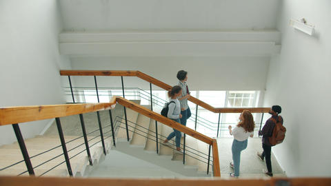 Multi-racial group of students meeting on stairs in college doing high-five Live Action