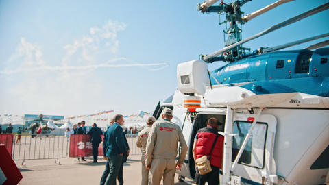 30 AUGUST 2019 MOSCOW, RUSSIA: An outdoors aircraft exhibition - people standing Footage