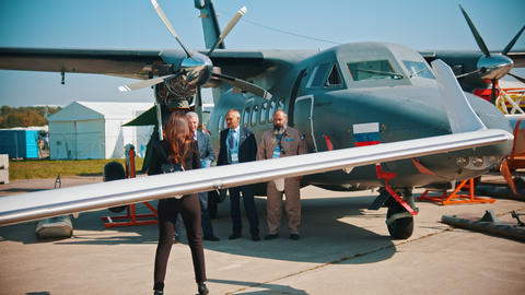30 AUGUST 2019 MOSCOW, RUSSIA: An outdoors aircraft exhibition - a Footage