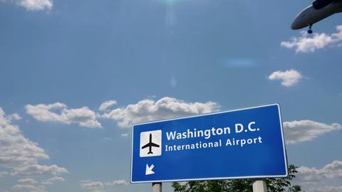 Airplane landing at Washington D.C Live Action