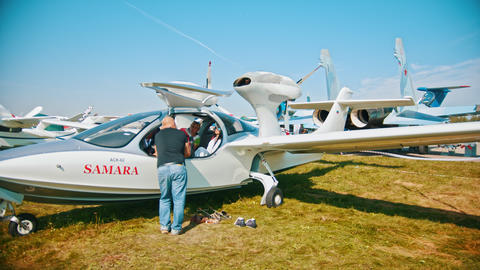 30 AUGUST 2019 MOSCOW, RUSSIA: Seaplane SAMARA - a kid sitting in the cabin Footage