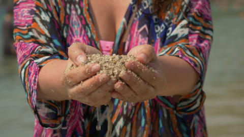 Woman Hands Sea Sand Water Background Closeup Footage