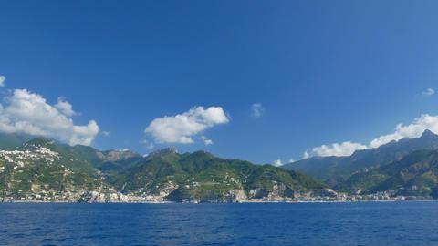 Blue sky and water of Amalfi Coast Footage