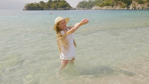 Happy Girl Stand Seaside Water Surface Summertime Footage