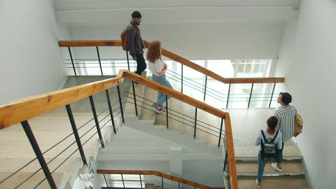 Cheerful students meeting on stairs in university doing high-five chatting Live Action