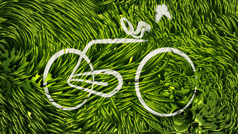 Bicycle Scribbling on Green Environment Stock Video Footage