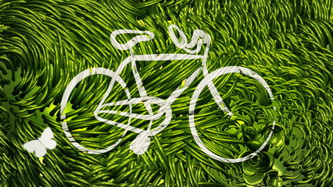 Bicycle Scribbling on Green Environment Animation