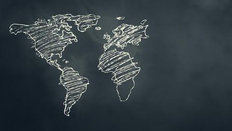World Map Scribbling on a Chalkboard Stock Video Footage