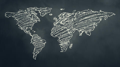 World Map Scribbling on a Chalkboard Stock Video Footage