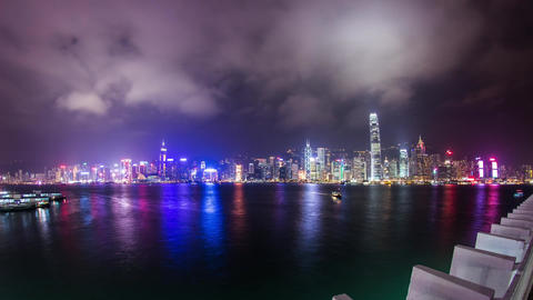 Cloudy night of Victoria Harbor in Hong Kong Stock Video Footage