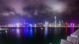 Cloudy night of Victoria Harbor in Hong Kong Footage