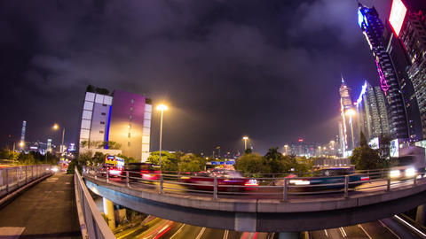 Busy traffic entering tunnel in Wan Chai Stock Video Footage
