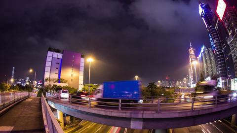 Busy traffic entering tunnel in Wan Chai Footage