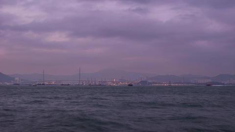 Sea Traffic Day to Night of Tsing Yi Bridge Stock Video Footage