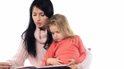 mother and child reading Stock Video Footage