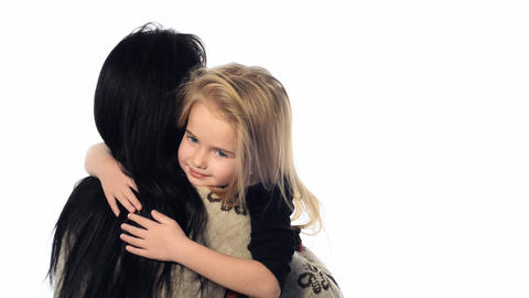 little girl hugging her mother Footage
