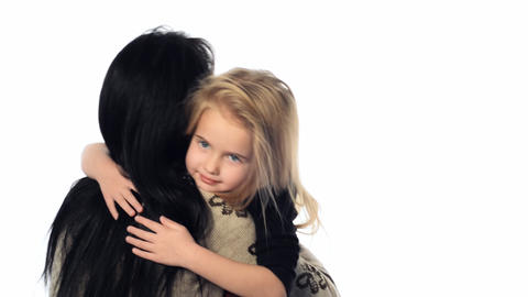 little girl hugging her mother Stock Video Footage