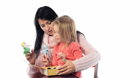 mother and daughter reading together Stock Video Footage