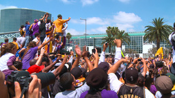 20100621 LAKERS CROWD 02 Stock Video Footage