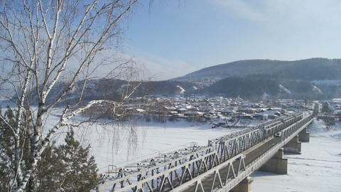 Bridge Over Mana River (pan right) Stock Video Footage