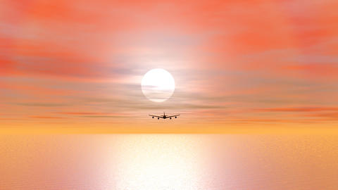 Aircraft flying by sunset - 3D render Stock Video Footage
