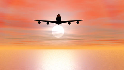 Aircraft flying by sunset - 3D render Animation