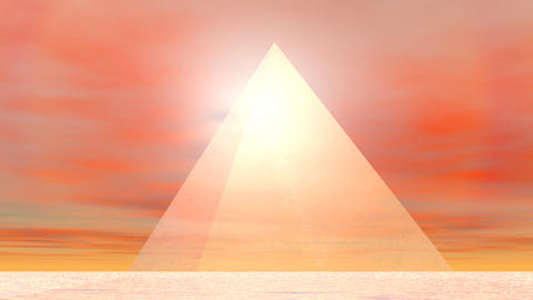 Pyramid to sun - 3D render Stock Video Footage