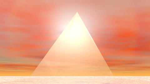 Pyramid to sun - 3D render Animation