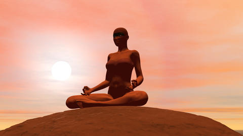 Meditation pose - 3D render Stock Video Footage