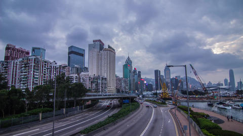 City Cloudy Day to Night with Traffic Stock Video Footage