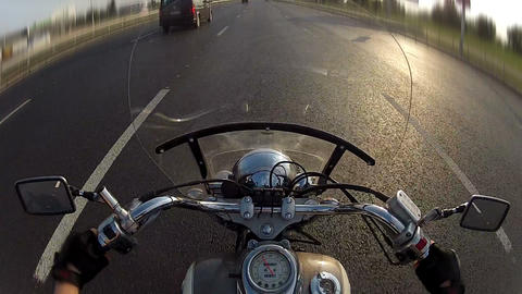 Biker driving the motorcycle on city highway, POV Stock Video Footage