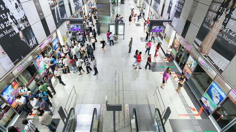4K Timelapse of People taking the Singapore Subway (SMRT) Stock Video Footage