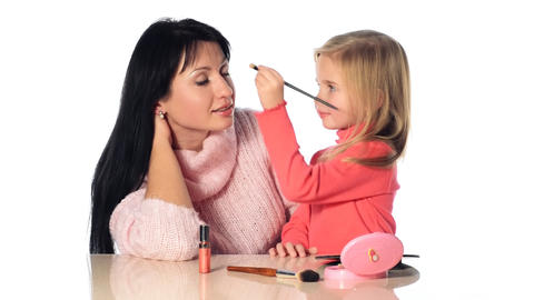 little girl make-up mother Stock Video Footage