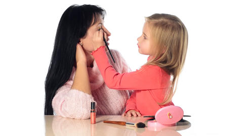 little girl make-up mother Footage