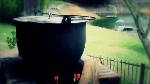 Fire soup pot 02 Stock Video Footage