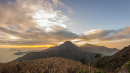 Cloudy Sunset at Lantau Peak Stock Video Footage