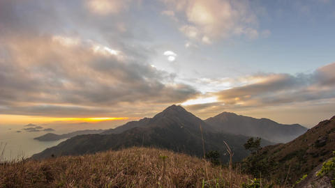 Cloudy Sunset at Lantau Peak Footage