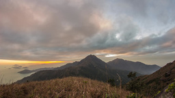 Cloudy Sunset at Lantau Peak Stock Video Footage