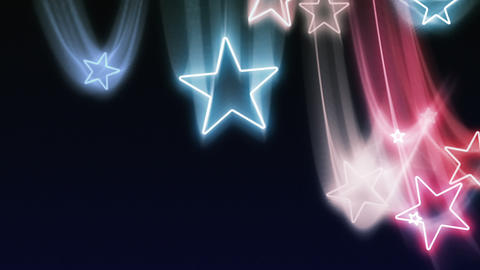 Red, White and Blue Stars Flying In and Out Loop Stock Video Footage