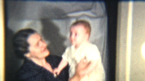 Baby Girl With Grandmother 1939 Vintage 8mm film Stock Video Footage