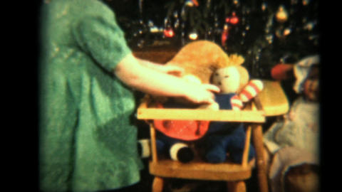 Girl Plays With Her Dolls 1942 Vintage 8mm film Stock Video Footage
