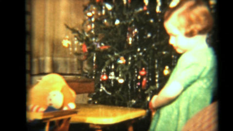 Girl Plays With Her Dolls 1942 Vintage 8mm Film stock footage