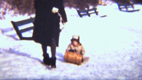 Girl Sledding With Her Mom 1942 Vintage 8mm film Footage