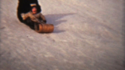Girl Sledding With Her Mom 1942 Vintage 8mm film Stock Video Footage