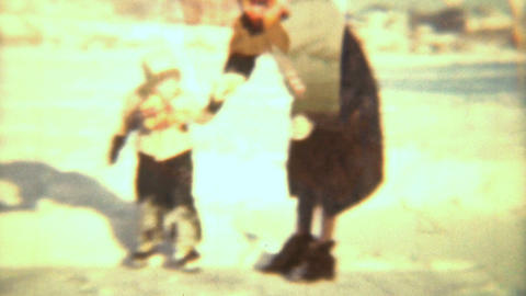 Little Girl Learning To Skate 1942 Vintage 8mm film Stock Video Footage